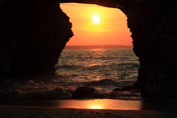 砂山ビーチの夕日